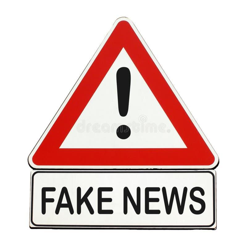 假新闻危险标志被隔绝在白色 库存例证