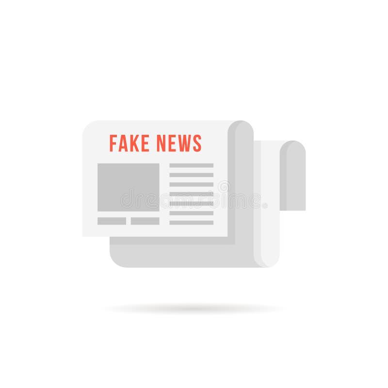 假新闻商标喜欢与阴影的报纸 库存例证