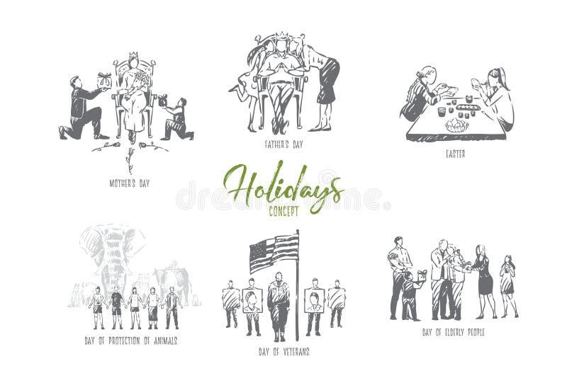 假日、复活节,母亲,父亲,动物保护、退伍军人和老年人天概念剪影 向量例证