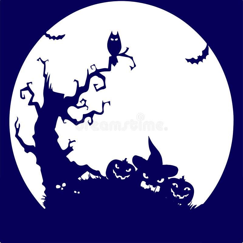 假日万圣夜,树,猫头鹰,南瓜,在丝毫的蓝色剪影 皇族释放例证