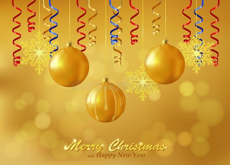 假日与圣诞节装饰品的金背景 皇族释放例证