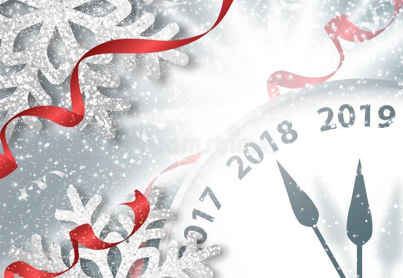 假日与时钟的新年2019年横幅 皇族释放例证