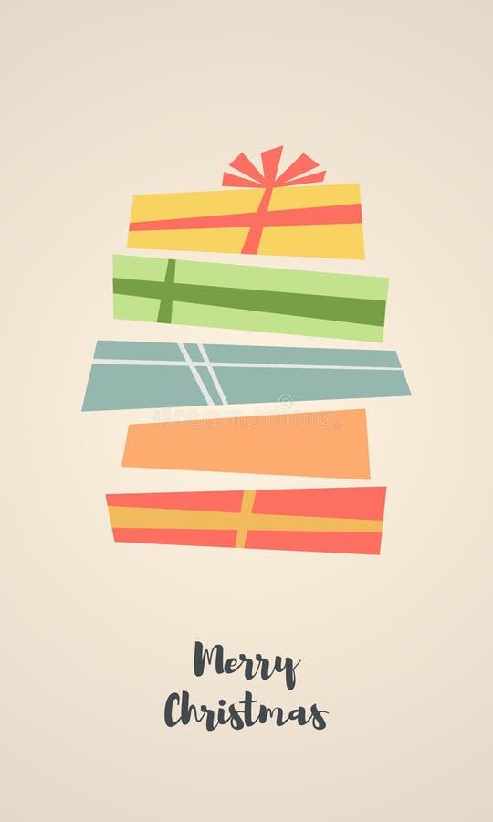 假日与礼物盒的圣诞节背景 库存照片