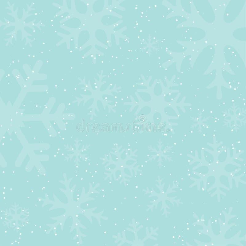 假日与落的雪和雪花剪影的冬天背景 葡萄酒颜色 皇族释放例证