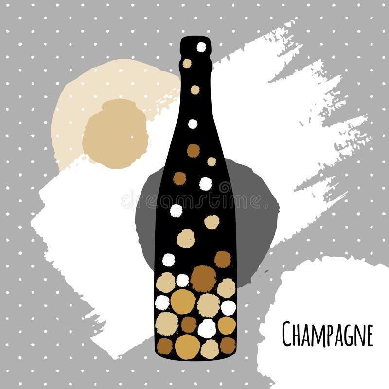 假日与香槟瓶的问候明信片在现代简单的样式 向量例证