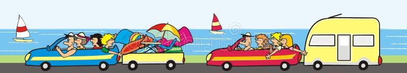 假日假期、小组汽车和人们,eps 向量例证
