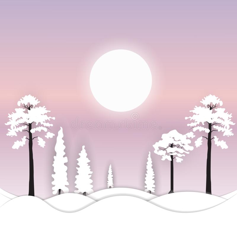 假日冬天与冬天树和雪的风景背景是光亮的 向量例证