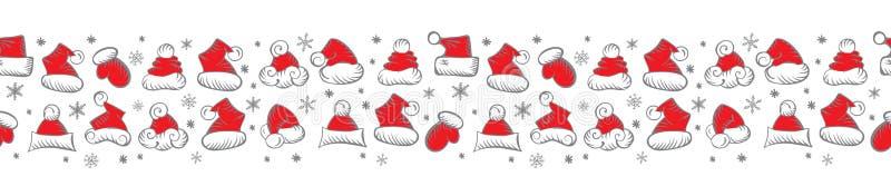 假日包装的圣诞老人帽子圣诞节无缝的样式 皇族释放例证
