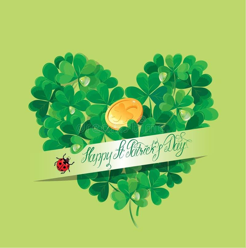 假日卡片与书法词愉快的St Patricks天 库存例证