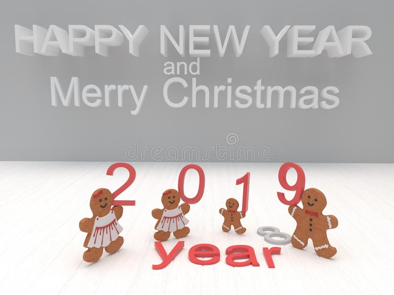 假日卡片新年快乐2019年用在一白色backgro的曲奇饼 库存图片