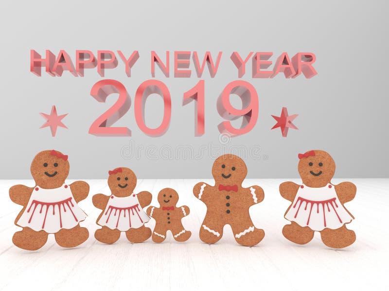 假日卡片新年快乐2019年用在一白色backgro的曲奇饼 免版税库存图片