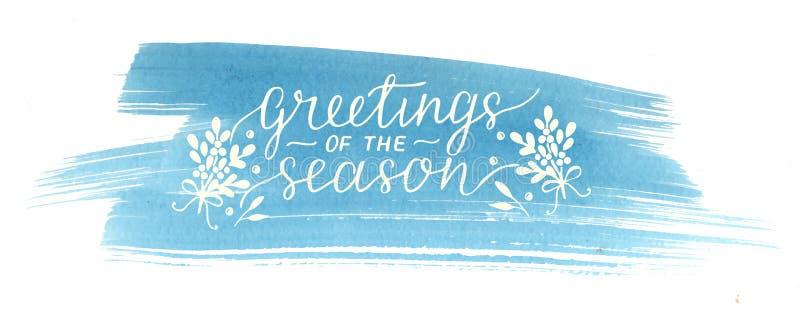 假日圣诞节季节的题字问候,在蓝色水彩背景做了手字法 向量例证