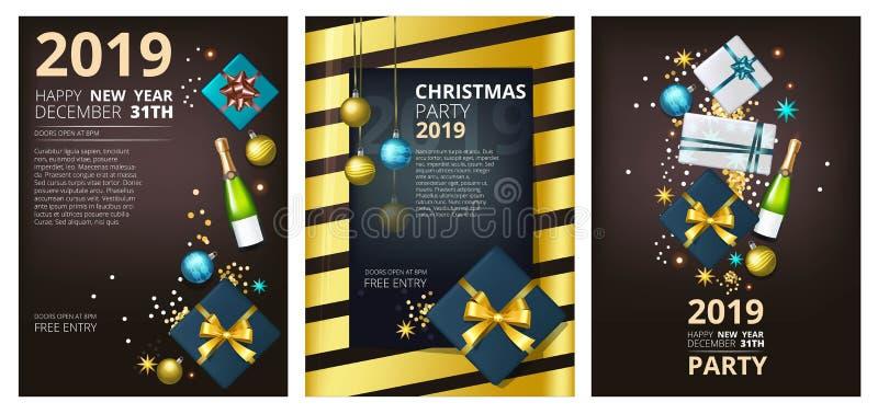 假日小册子模板 公司贺卡党新年2019年和圣诞节邀请设计 皇族释放例证
