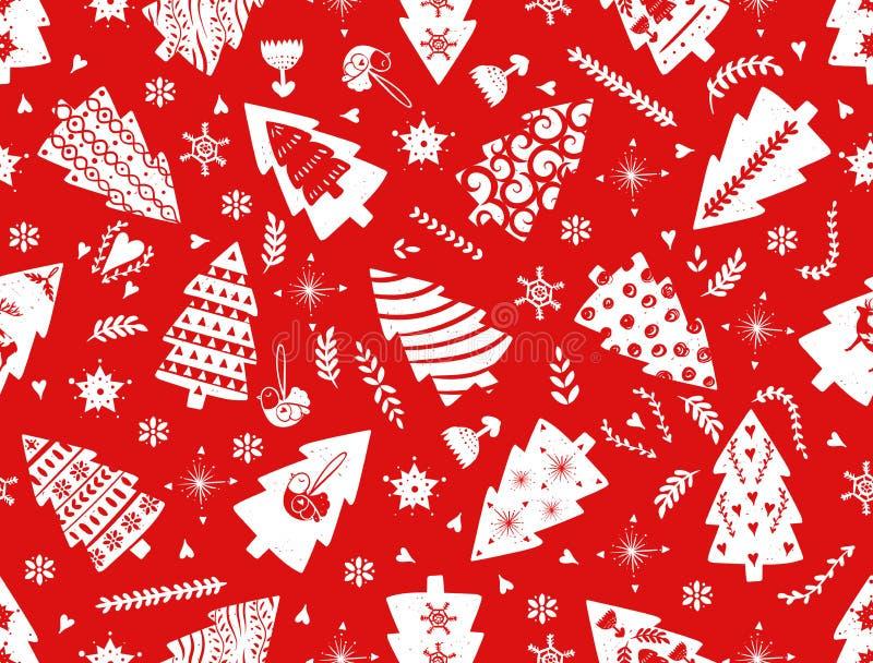 假日庆祝斯堪的纳维亚北欧样式的红色简单的圣诞节杉树 圣诞节,新年装饰 无缝