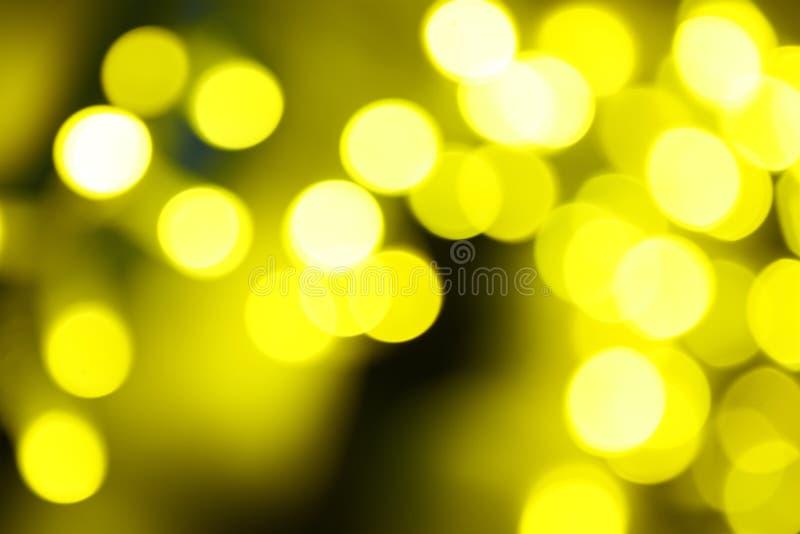 假日抽象绿色和黄灯 库存照片
