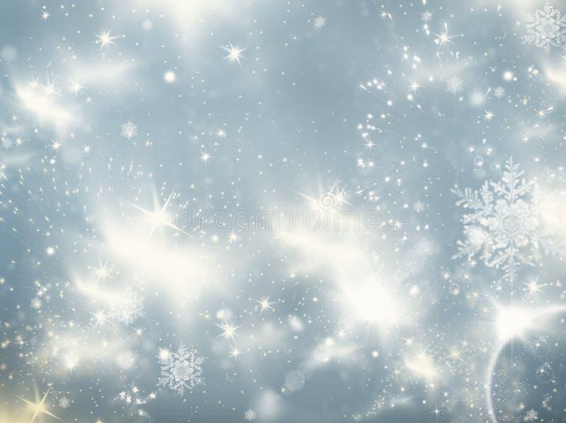 假日摘要与眨眼睛星和秋天的闪烁背景 库存照片