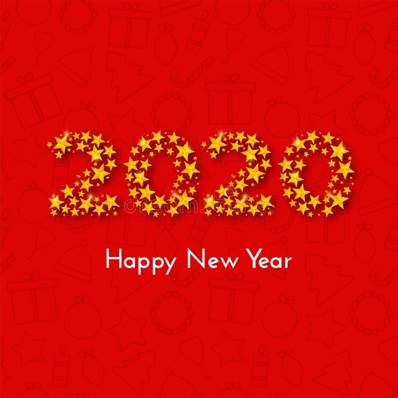 假日新年2020年与金黄星的数字的礼品券在红色背景的与圣诞节象 r 库存例证