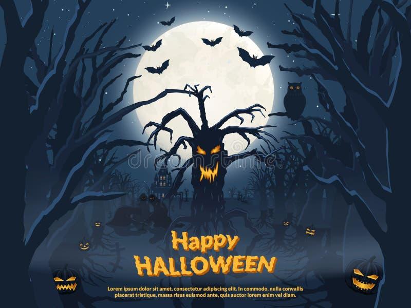 假日海报为万圣夜 邪恶的树和鬼魂 库存例证