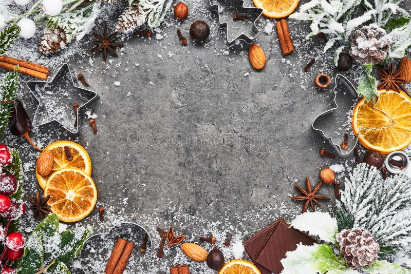 假日烘烤背景 圣诞节食物 免版税库存照片