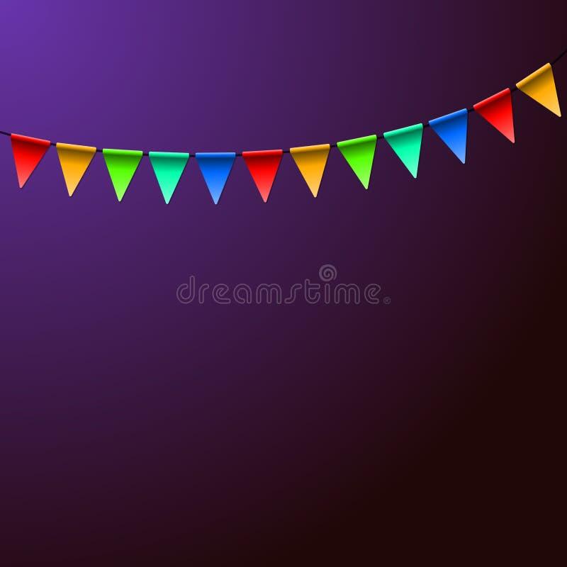 假日生日五颜六色的旗子 向量背景 皇族释放例证