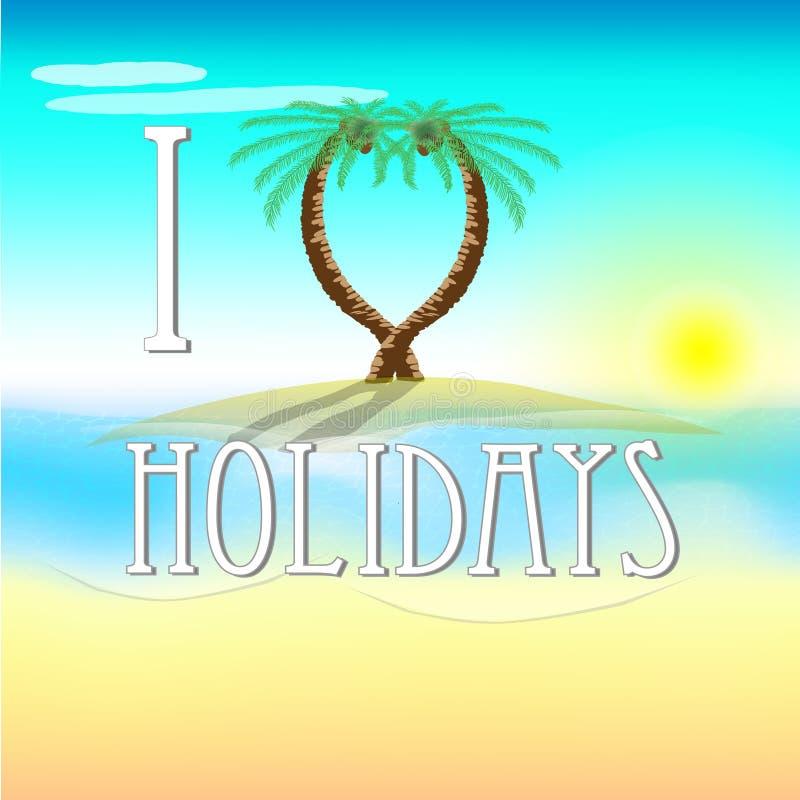 假日的例证在海滩的与爱棕榈树 库存例证