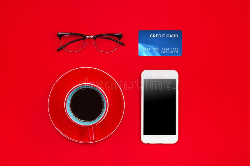 假日网上购物概念 看法从上面与拷贝空间 免版税图库摄影