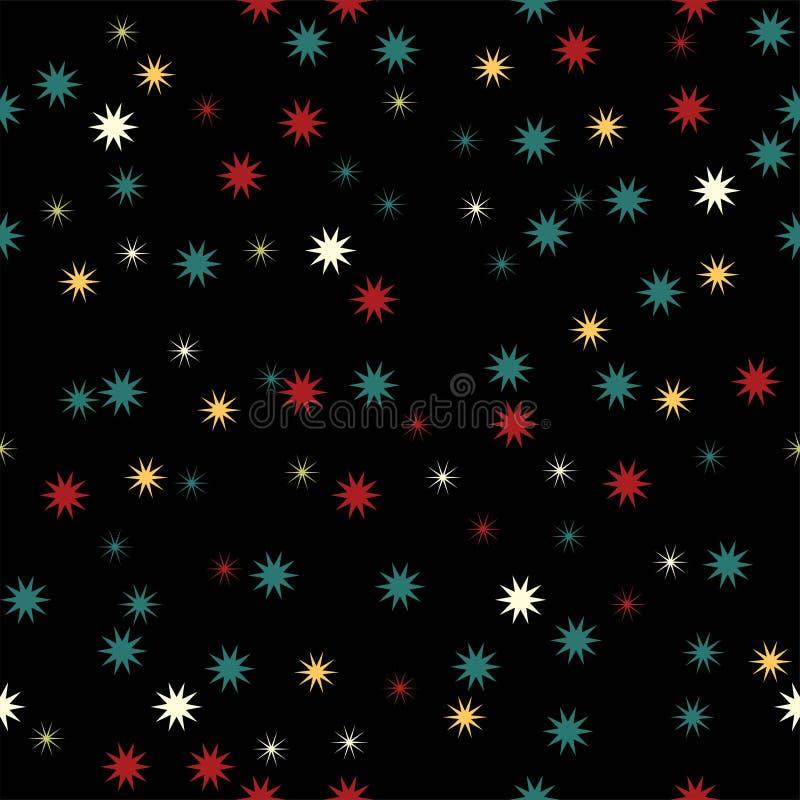 假日背景,与星的无缝的样式 也corel凹道例证向量 向量例证