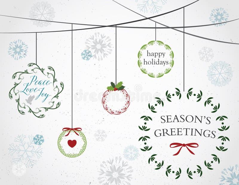 Download 假日花圈和雪花 向量例证. 插画 包括有 圣诞节, 艺术, 愉快, 丝带, 例证, 和平, 看板卡, 诗歌选 - 59112464