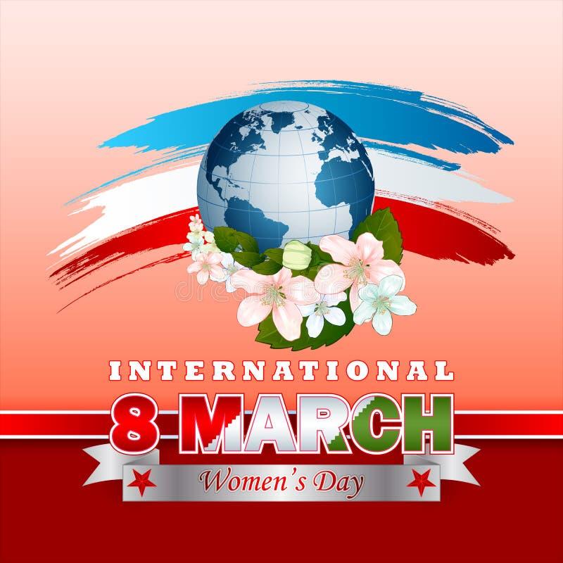 假日设计,背景为3月8日国际妇女的天 向量例证