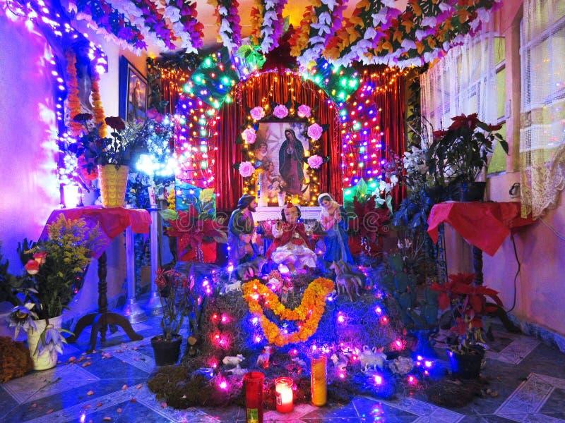 假日诞生显示在奇尔潘辛戈格雷罗州墨西哥 免版税库存图片