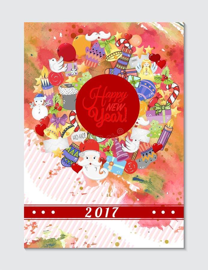假日贺卡、印刷品、书页、子弹学报或者包装纸的圣诞快乐样式 响铃,圣诞老人,树,袜子, 向量例证