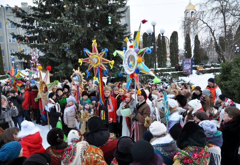假日颂歌和圣诞节星 免版税库存图片