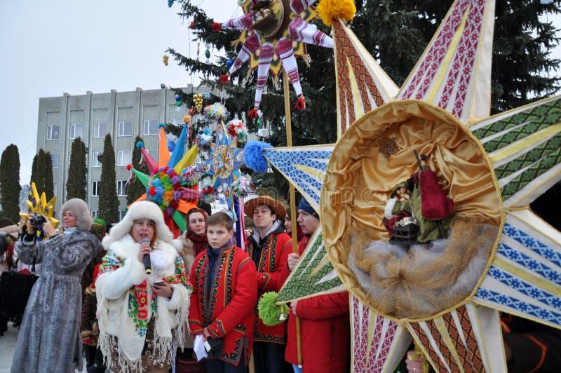 假日颂歌和圣诞节星 免版税图库摄影