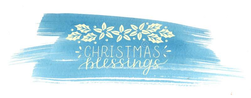 假日题字圣诞节祝福,在蓝色水彩背景做了手字法 库存例证