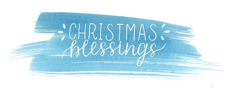 假日题字圣诞节祝福,在蓝色水彩背景做了手字法 向量例证