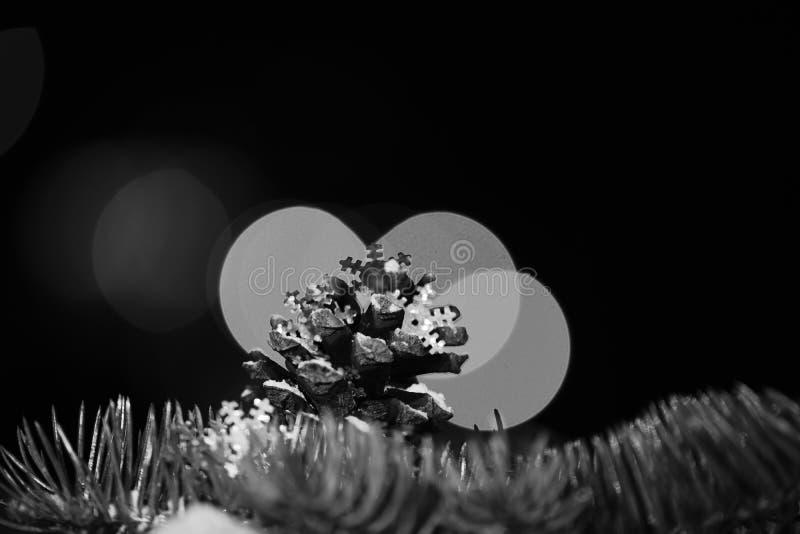假日xmas杉树装饰五颜六色的锥体和分支与defocused bokeh光和在五颜六色的背景,拷贝 图库摄影