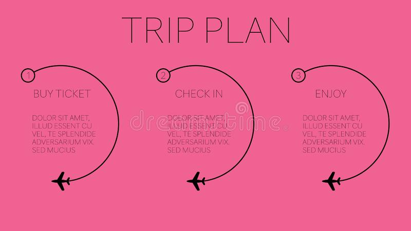 假期与四容易的步的旅行计划 向量例证