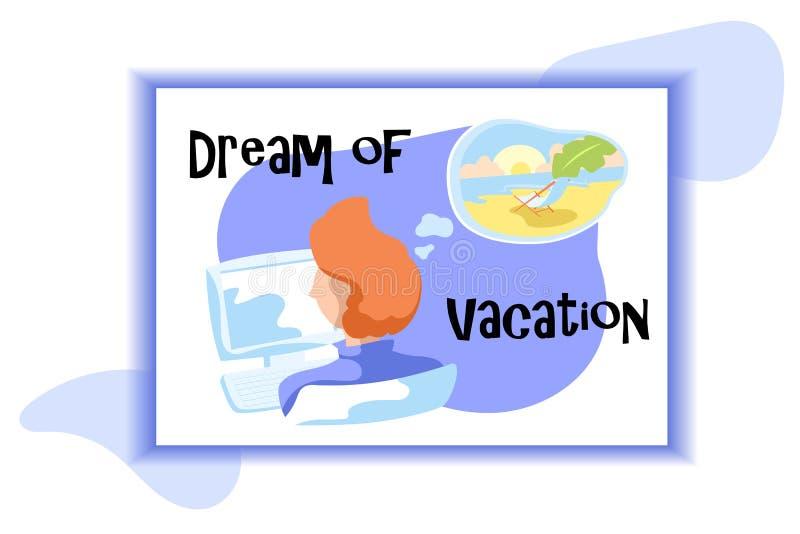 假期卡片梦想  有计算机的办公室工作者和认为泡影 作梦热带海滩假日 皇族释放例证