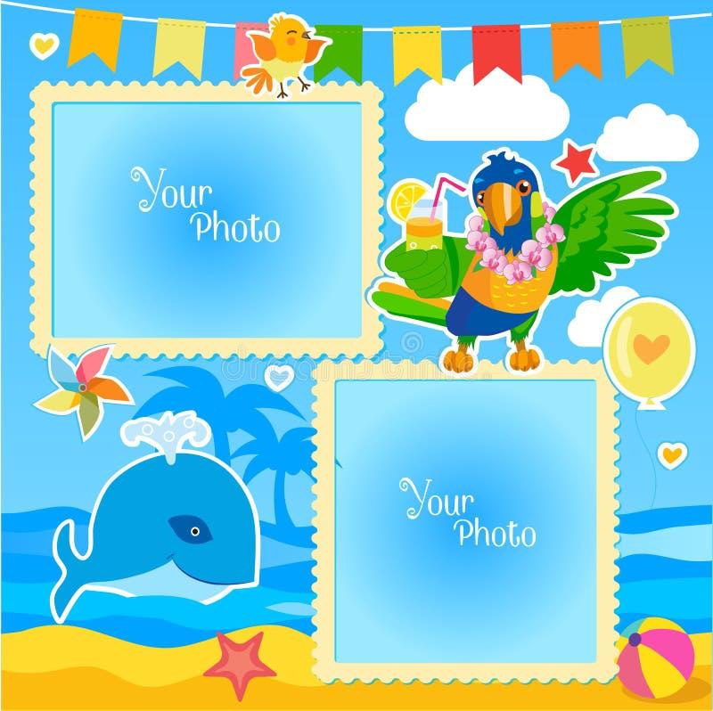 Download 假期夏天与海、鲸鱼和鹦鹉的照片框架 婴孩的装饰动画片模板 向量例证 - 插画 包括有 字符, 国界的: 72350731
