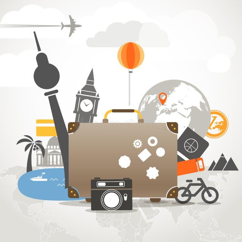 假期旅行的构成 向量例证