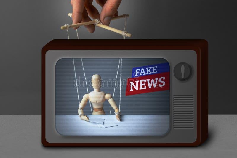 假电视新闻 通讯员,玩偶控制操纵傀儡的人 欺骗电视的人的说谎的信息 库存照片