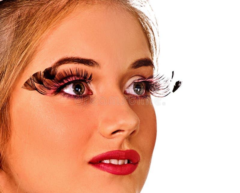 假睫毛和完善的皮肤脸面护理构成 免版税库存图片