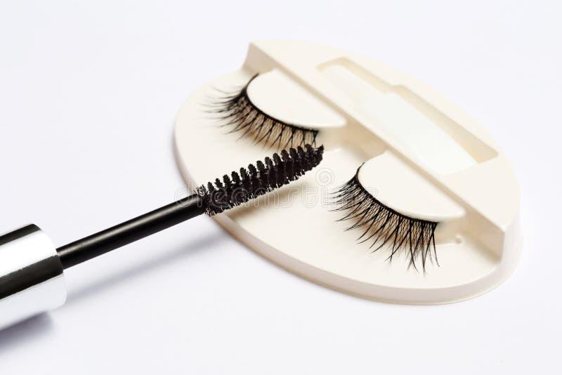 假睫毛集合和染睫毛油刷子在白色背景 库存图片