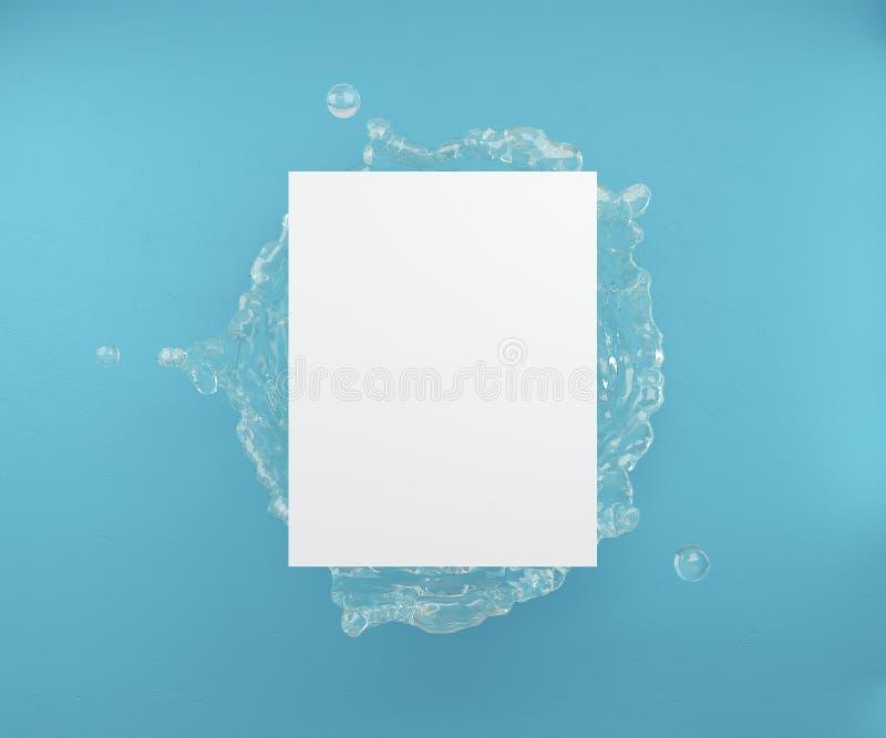 假装为海报或广告 在棕榈叶和蓝色墙壁背景的一个空白纸  3d?? 库存例证