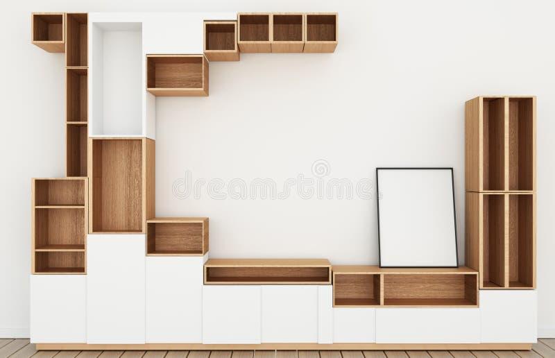 假装内阁设计大模型在现代空的室,白色地板木在白色墙壁室日本风格 3d?? 库存例证