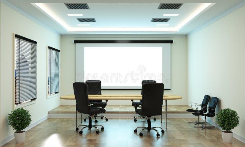 假装办公室事务-美丽的会议室候选会议地点和会议桌,现代样式 3d?? 皇族释放例证