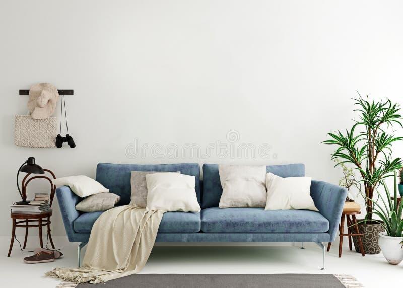 假装墙壁在钢青色现代内部背景,客厅,斯堪的纳维亚样式中 皇族释放例证