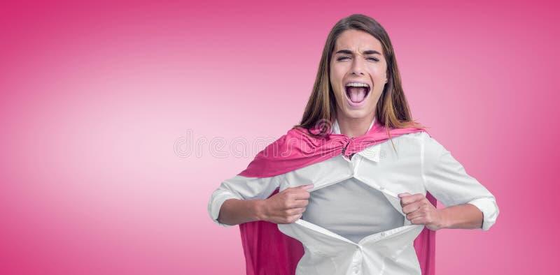 假装妇女的画象的综合图象是超级英雄 免版税库存照片