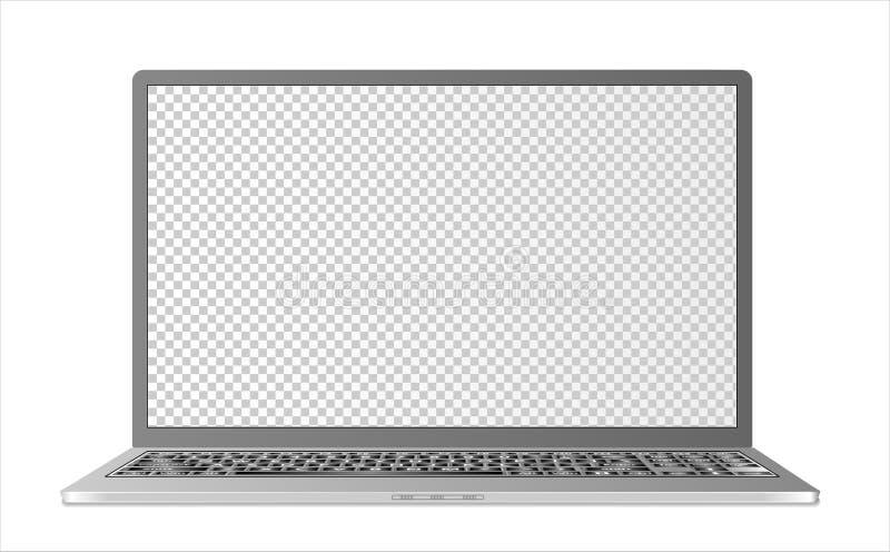假装有空白的透明屏幕的膝上型计算机在与现实阴影的白色背景 能使用作为模板为您的desi 库存例证
