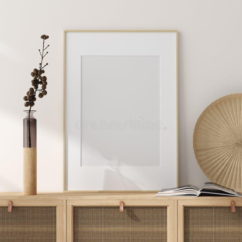 假装框架在家庭内部背景,有自然木家具的米黄室,斯堪的纳维亚样式中 免版税图库摄影